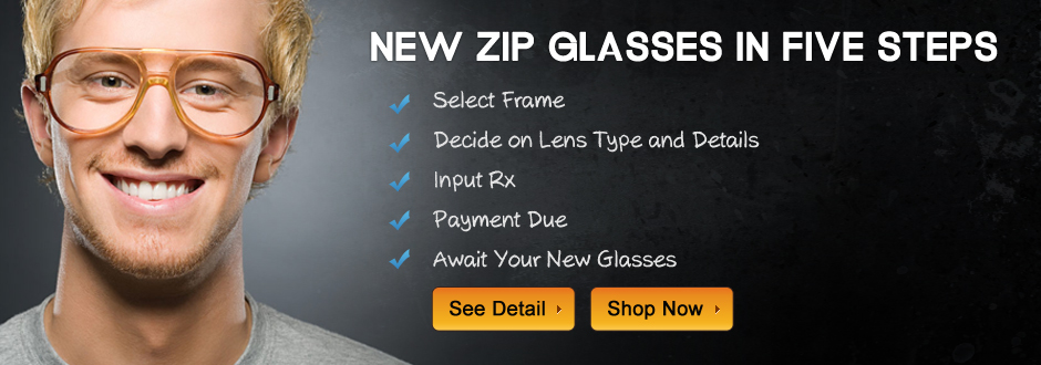 New zipoptical glasses in five steps: 1. Select Frame, 2. Decide Details, 3. Input Rx, 4. Pay, 5. Await