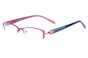 Red/black,Semirim,Halfrim,SemiRimless,Oval,Alloy metal eyeglasses - Z01AB8539C56
