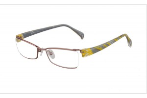 Brown,Semirim,Halfrim,SemiRimless,Rectangle,Titanium eyeglasses - Z03S3200C110