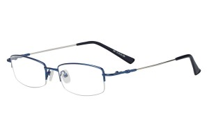 Blue,Semirim,Halfrim,SemiRimless,Rectangle,Metal alloy eyeglasses - Z11621C5