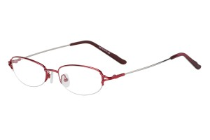 Red,Semirim,Halfrim,SemiRimless,Oval,Metal alloy eyeglasses - Z11642C8