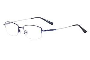 Blue,Semirim,Halfrim,SemiRimless,Rectangle,Metal alloy eyeglasses - Z11647C5