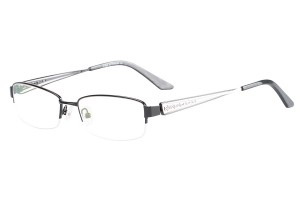 Black,Semirim,Halfrim,SemiRimless,Rectangle,Metal alloy eyeglasses - Z116840C4