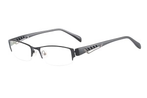 Black,Semirim,Halfrim,SemiRimless,Rectangle,Metal alloy eyeglasses - Z116841C4