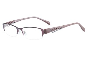 Brown,Semirim,Halfrim,SemiRimless,Rectangle,Metal alloy eyeglasses - Z116841C9