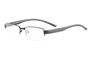 Black,Semirim,Halfrim,SemiRimless,Rectangle,Metal alloy eyeglasses - Z116886C4