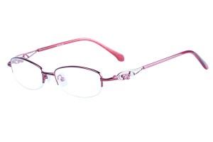 Red,Semirim,Halfrim,SemiRimless,Oval,Metal alloy eyeglasses - Z116887C8