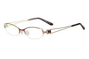 Red, Semi Rim, Oval, Metal Alloy eyeglasses. - Z116909C8