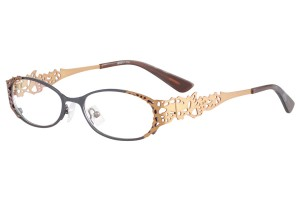 Black/brown,Fullrim,Oval,Metal alloy eyeglasses - Z16237-BKBR