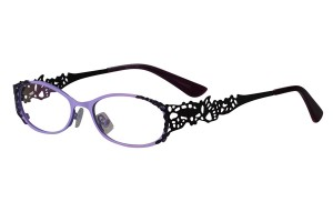 Purple/black,Fullrim,Oval,Metal alloy eyeglasses - Z16237-PUB