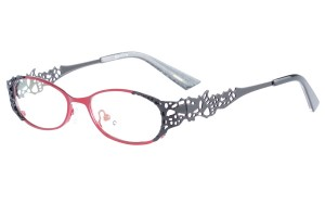 Red/black,Fullrim,Oval,Metal alloy eyeglasses - Z16237-RB