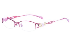 Red,Semirim,Halfrim,SemiRimless,Rectangle,Metal alloy eyeglasses - Z165547-R