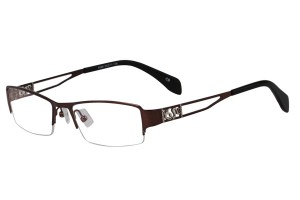 Brown,Semirim,Halfrim,SemiRimless,Rectangle,Metal alloy eyeglasses - Z168586C9