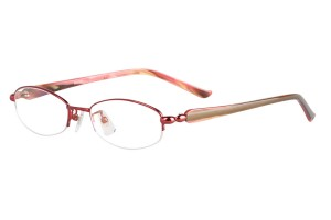 Red,Semirim,Halfrim,SemiRimless,Oval,Metal alloy eyeglasses - Z18G80142C11