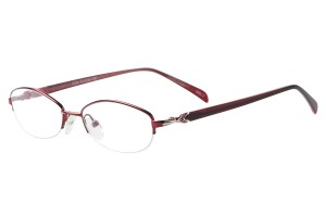 Red,Semirim,Halfrim,SemiRimless,Oval,Metal alloy eyeglasses - Z793034C2